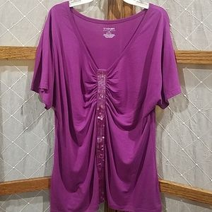 14/16 Lane Bryant Short Sleeve Blouse Sequin